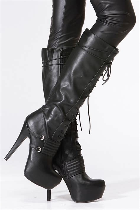 qupid black lace up platform stiletto knee high boot
