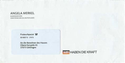 Postwurfsendung An Alle Haushalte 2300 by Philaseiten De Absenderfreistempel Bundestagsabgeordneten
