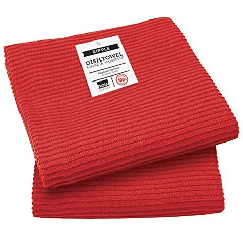 now designs ripple kitchen towel set of 2 red trafont