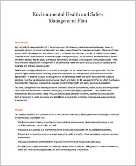 environmental health and safety plan template 42 management plan templates pdf word free premium