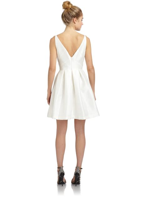 z dress lyst z spoke by zac posen pleated faille dress in white