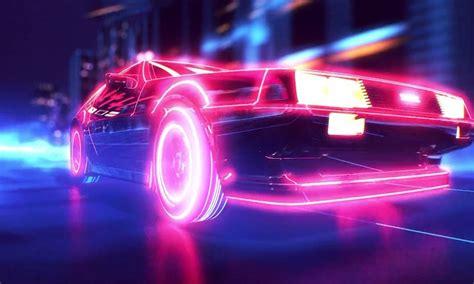 wallpaper night neon car vehicle retro games