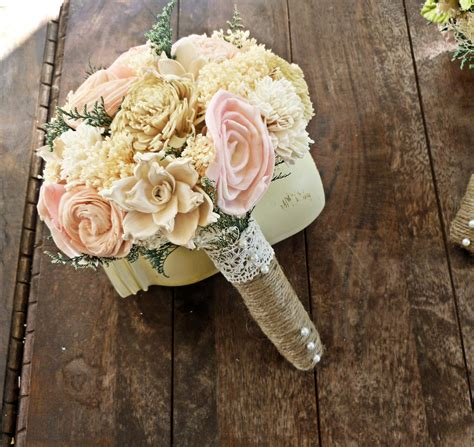 shabby chic style floral bouquet wedding bouquet small sola by curiousfloralcrafts wedding bouquets