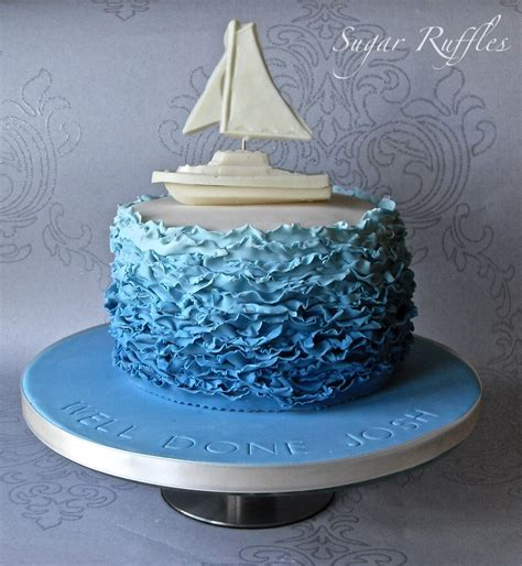 like a boat out of the blue blue ombre ruffles cake