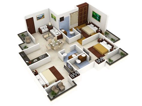 How To Design A House Floor Plan 3 bedroom house designs 3d buscar con google grandes