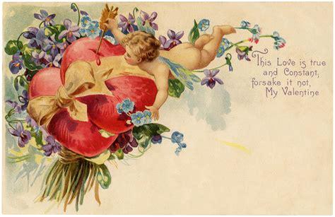 cherubs violets vintage valentine image