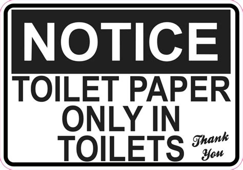Wall Letters Stickers 5in x 3 5in toilet paper only sticker vinyl restroom wall