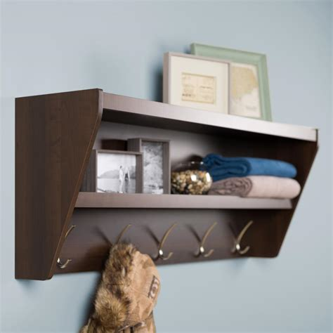 entryway rack shelf floating entryway shelf coat rack in espresso