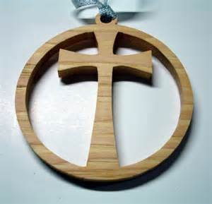 cross christmas ornament handcrafted from hickory wood