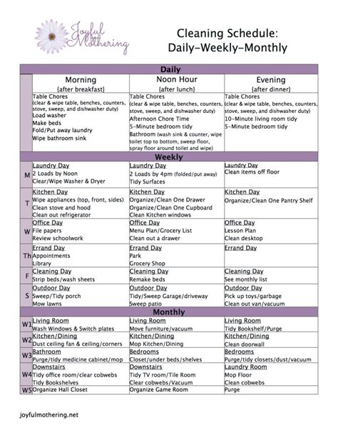 printable housekeeping schedule free cleaning schedule printable 24 7 moms