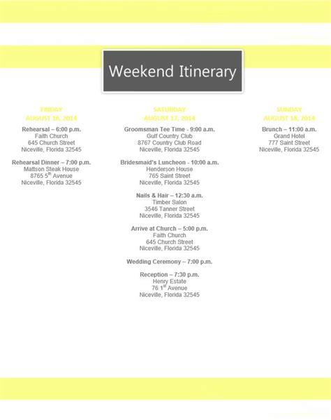 free wedding day itinerary template yellow stripe wedding itinerary template download