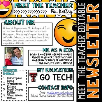 Meet The Teacher Newsletter Emoji Editable By Tied 2 Teaching Meet The Newsletter Templates