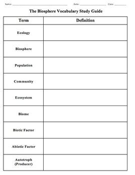 chapter 3 the biosphere section review 3 1 biology chapter 3 the biosphere vocabulary study guide