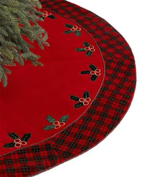 jabara christmas tree skirt velvet plaid with holly