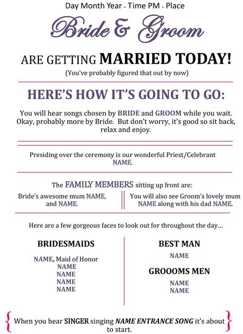wedding ceremony program template leaflet wonderful captures