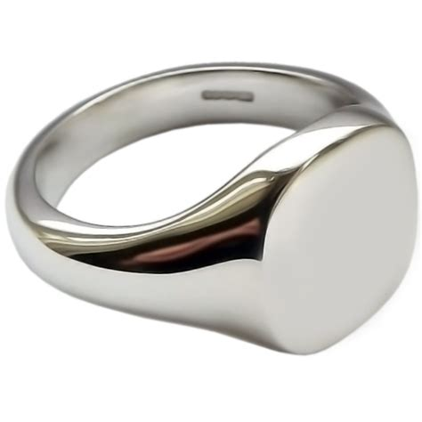 mens sterling silver 14mm x 13mm cushion signet ring