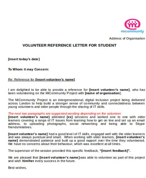 Reference Letter For A Student Volunteer Sle Reference Letter For Student Exles In Pdf Word