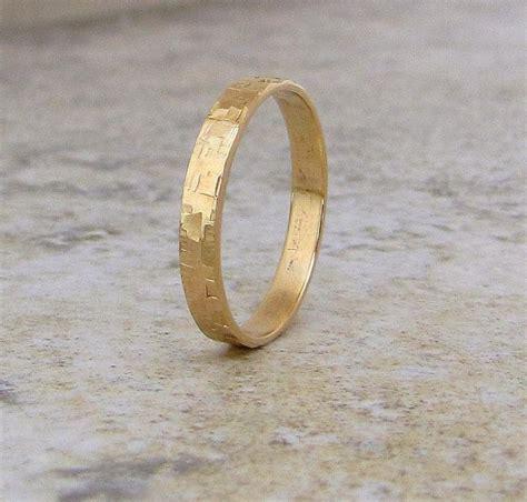 mens wedding band hammered gold wedding ring 14k