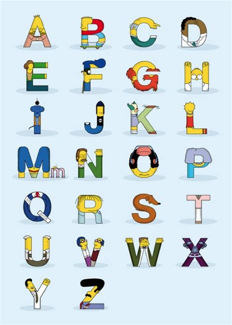 Character Letter Symbols Simpsons Characters In The Form Of Letters Of The Alphabet