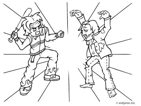 Combat Contre Un Zombie Coloriage Mangas Gratuit Sur