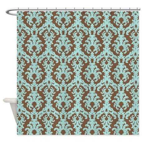 brown damask shower curtain turquoise and brown damask shower curtain by beachbumming
