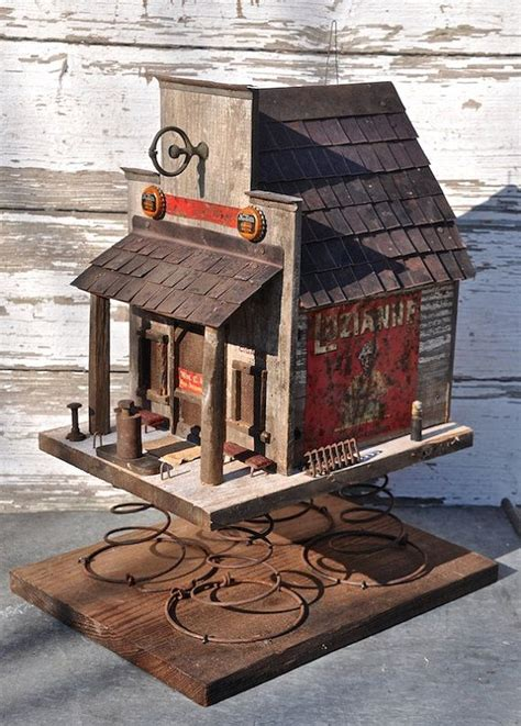 country store birdhouse on springs by crescentpond on etsy