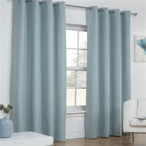 duck egg blue blackout curtains linen look textured blackout thermal ring top