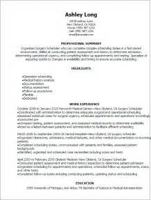 Scheduler Resume by Professional Surgery Scheduler Resume Templates To Showcase Your Talent Myperfectresume