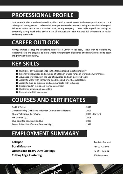 Driver Resume Accomplishments Excellent Driver Resume Template For 2016 2017 Resume