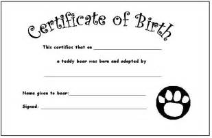 Teddy Birth Certificate Template by Your Teddy S Certificate Of Birth Teddies Nursery