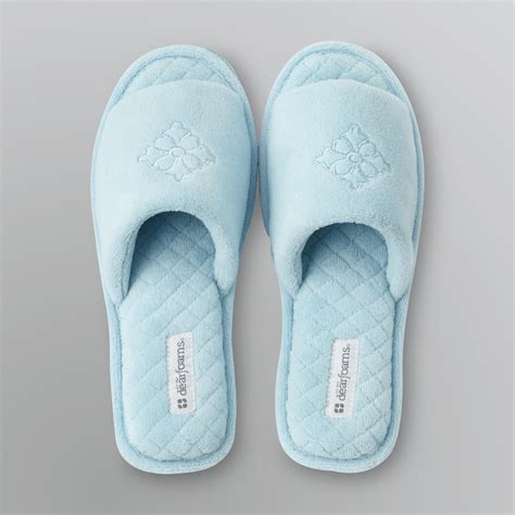 open toed slippers dearfoams s quilted open toe slippers shoes