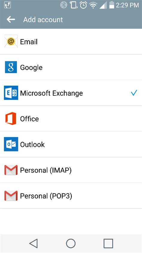 adding office   mail client  android device