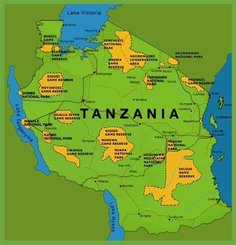 map of tanzania tanzania national parks map