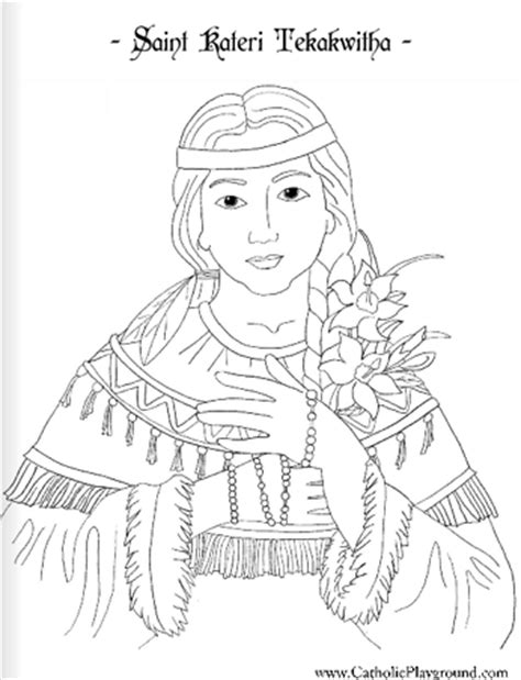 printable coloring pages for all saints day saint kateri tekakwitha catholic coloring page feast day