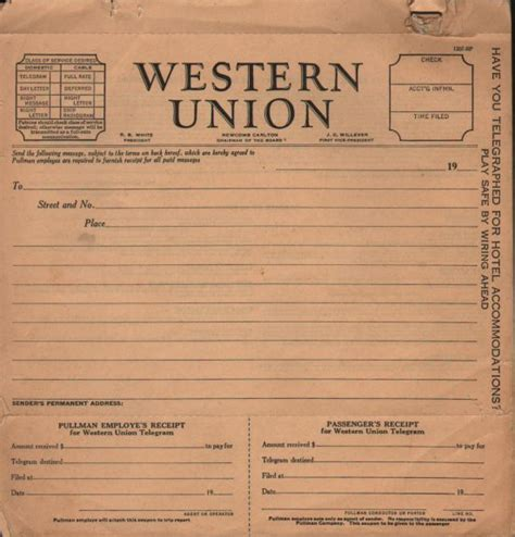 Western Union Receipt Template by Western Union Telegram Blank With Pullman Receipt
