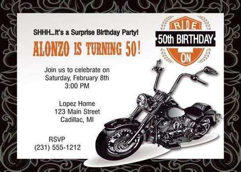 printable birthday cards with motorcycle motorcycle 50th invitation motorcycle 50th birthday