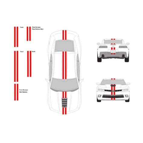 Set 3 In 1 Stripes chevy camaro 3 quot wide racing stripe set with 0 25 pin
