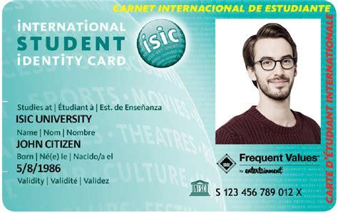 isic card template isic per 218 carn 233 internacional de estudiante mochileros