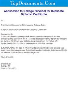 Certification Letter Lost application to college principal for duplicate diploma certificate