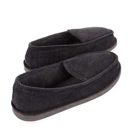 where house shoes mens slippers house shoes black corduroy moccasin slip on indoor outdoor comfort ebay
