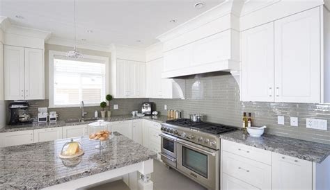 white cabinets with gray granite white cabinets grey glass backsplash and med grey granite