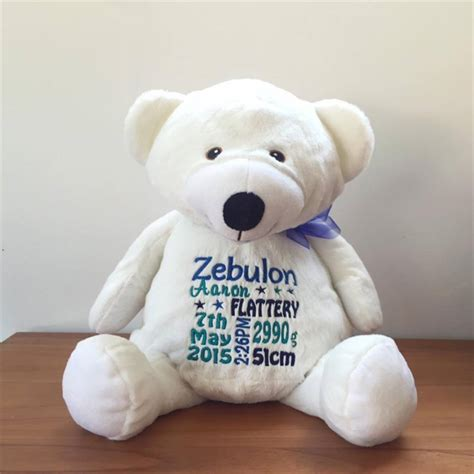personalised teddy baby announcement baby gift
