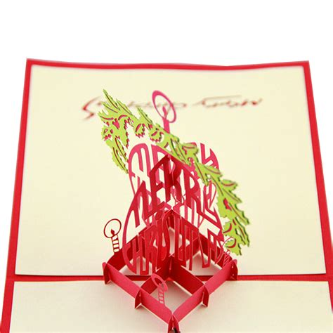 Handmade New Year Greeting Card - 3d pop up handmade merry greeting card new year