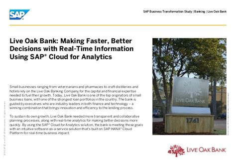 Live Oak Bank Mba Linkedin by Live Oak Bank Faster Better Decisions With Real
