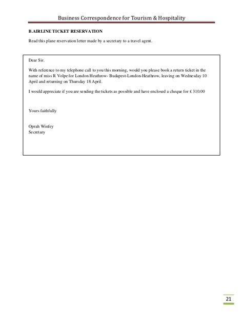 Request Letter Format For Air Ticket Business Correspondence For The Tourism Industry
