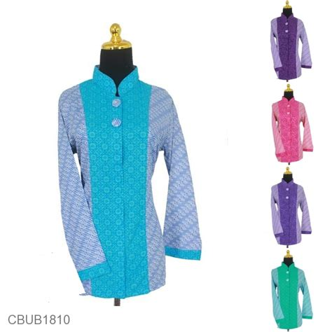 Kkk453 Batik Katun Bahan Atasan Blus Kain Embos Murah Bawahan Kebaya baju batik blus panjang katun kain embos motif parang