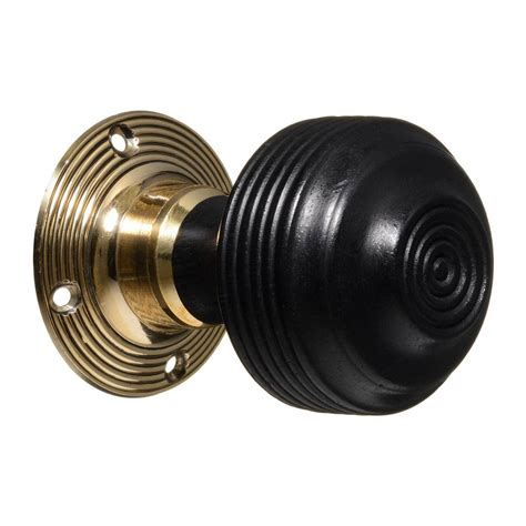 Ebonised Door Knobs by 1 Pair Of Ebonised Reeded Door Knobs Brass Roses Cdc 4
