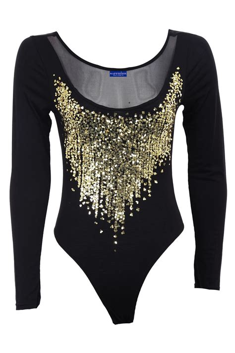 Sequin Sleeve Avail In 3 Colours Place 08 womens gold sequin sleeve mesh insert low back leotard bodysuit ebay