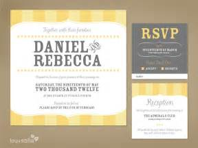 custom wedding invitation set yellow vintage stripe