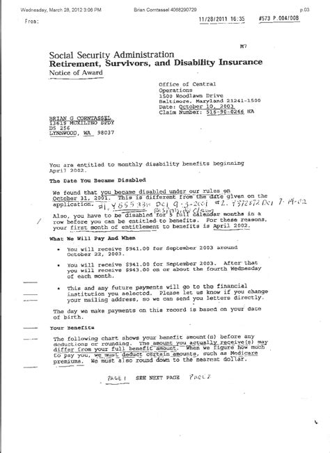 Award Letter Social Security Administration evidence